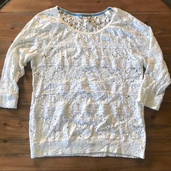 Anthropologie Tops - ANTHROPOLOGIE One September White Lace 3/4 Top M